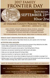 2017 Family Frontier Day at Pioneer Village @ Pioneer Village | Saukville | Wisconsin | United States