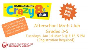 Afterschool Math Club, Grades 3-5 @ Lomira QuadGraphics Community Library